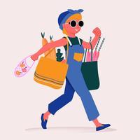 Jolie femme transportant un sac de papier d'épicerie pleine d'illustrations d'aliments sains