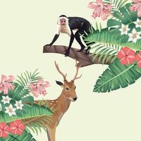 renne sauvage et singe au feuillage tropical vecteur