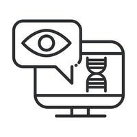 Ordinateur de santé en ligne diagnostic médical soins médicaux covid 19 icône de la ligne de pandémie vecteur