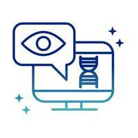 Diagnostic informatique de santé en ligne soins médicaux covid 19 icône de ligne de gradient pandémique vecteur