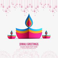 Joyeux diwali diya conception de carte de visite festival lampe à huile vecteur