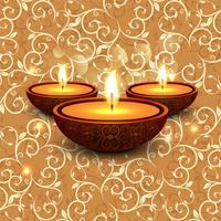 Joyeux diwali diya illustration de fond de festival de lampe à huile vecteur