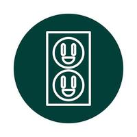 icône de style de ligne de bloc d & # 39; énergie durable alternative de prise électrique vecteur