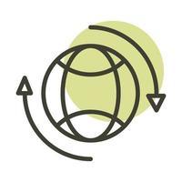 icône de style de ligne mondiale énergie durable alternative vecteur
