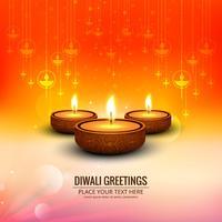 Joyeux diwali diya festival de lampe à huile décoratif backgro vecteur