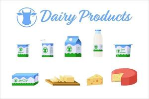 collection d & # 39; icônes isolées de produits laitiers de style plat vecteur