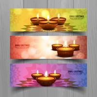 Joyeux diwali diya festival de lampe à huile en-tête scénographie