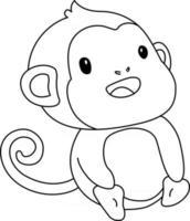 Coloriage pour enfants singe idéal pour un livre de coloriage pour débutant vecteur