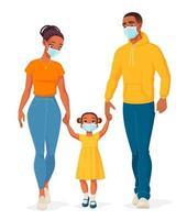 famille afro-américaine portant des masques de protection vector illustration