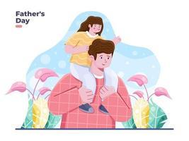 bonne fête des pères illustration vectorielle mignon. enfant joyeux est assis sur les épaules de son père. conception de carte de voeux bonne fête des pères vecteur