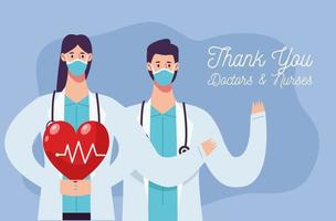 couple de médecins portant un masque avec cardiologie cardiaque vecteur