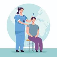 Infirmière vaccinant des personnages masculins vecteur