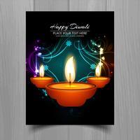 Joyeux diwali diya festival de lampes à huile design brochure modèle vecteur
