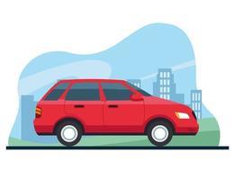Icône isolé de couleur de véhicule de voiture vecteur