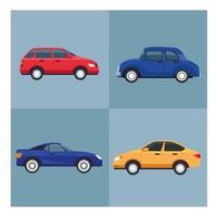 quatre voitures véhicules couleurs icônes isolées vecteur