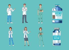 groupe de médecins avec des flacons de vaccin covid19 vecteur