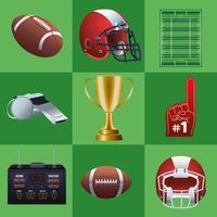 Lot de neuf icônes de jeu de super bol sur fond vert vecteur