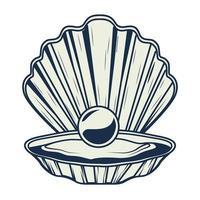 huître avec icône élément vintage gris nautique perle vecteur