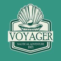 huître avec icône emblème vintage gris nautique perle vecteur