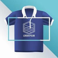 chemise bleue avec marque de maquette d'emblème de figure de cube vecteur