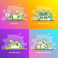 Bannière Web de concept de ligne plate moderne à gradient lisse de magasin en ligne, paiement au clic, marketing mobile et livraison