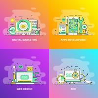 Bannière Web de concept de ligne plate dégradé lisse moderne de référencement, conception Web, développement d'applications et marketing numérique vecteur