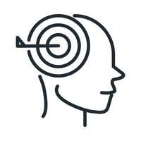 icône de style de ligne de concentration cérébrale neurologique de la maladie d'Alzheimer vecteur