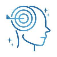 Icône de ligne de gradient de concentration cérébrale neurologique de la maladie d'Alzheimer vecteur