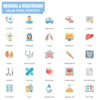 Ensemble simple d'icônes plats vectoriels médicaux et de soins de santé