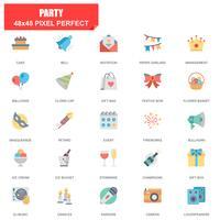 Ensemble simple d'icônes de plats de vecteur associés parti