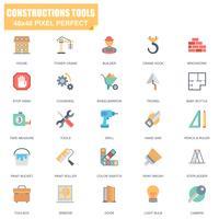 Ensemble simple d'outils de construction associés icônes plats vectoriels vecteur