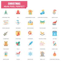 Ensemble simple de Noël icônes vectorielles associés plat