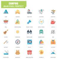 Ensemble simple de camping associés Vector Icons plats