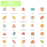 Ensemble simple de boulangerie associés Vector Icons plats