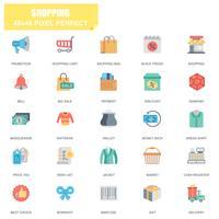 Ensemble simple de shopping icônes vectorielles associés plat vecteur
