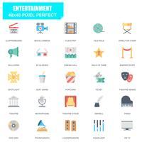 Ensemble simple de divertissement associés icônes plats vectoriels