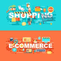 Shopping et e-commerce ensemble de concept plat