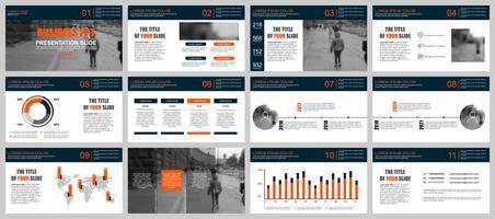 Présentation de l'entreprise PowerPoint diapositives modèles à partir d'éléments infographiques.
