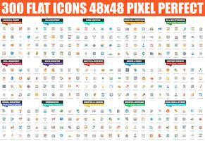Ensemble simple d'icône plate de vecteur. Pack de pictogrammes linéaires. 48x48 Pixel Parfait. vecteur