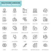 Ensemble de soins simple et icônes de ligne médicale pour site Web et applications mobiles