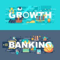 Banque et croissance ensemble de concept plat