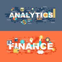 Analytique et finance ensemble de concept plat