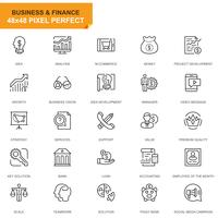 Icônes de ligne Simple Set Business et Finance pour site Web et applications mobiles