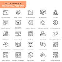 Icônes de ligne de référencement simple et d'optimisation Web pour les sites Web et les applications mobiles vecteur