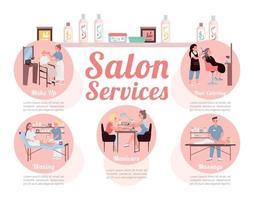 modèle d & # 39; infographie informationnel de vecteur de couleur plate de services de salon
