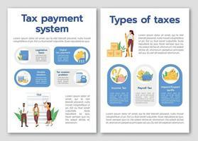 modèle de brochure de vecteur plat système de paiement de taxe