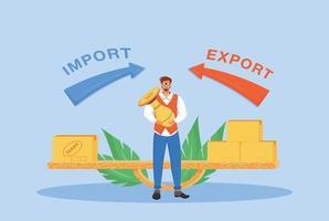 illustration vectorielle de taxes à l'importation et à l'exportation concept plat vecteur