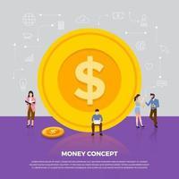 entreprise d'argent concept design plat. groupe de personnes développement icône pièce de monnaie. vecteur illustrent