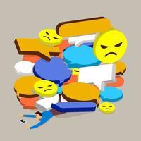 concept de design plat commentaire négatif sur les médias sociaux. l'homme ne peut pas gérer la crise en ligne. vecteur illustrent.