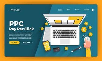 site Web de conception de maquette concept de design plat ppc payer par clic. illustration vectorielle. vecteur